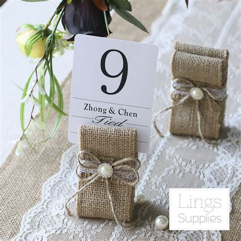 Details about 12/24pcs Vintage Table Number Holders Burlap