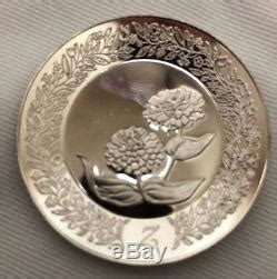 franklin mint  sterling silver   mini floral alphabet plate collection