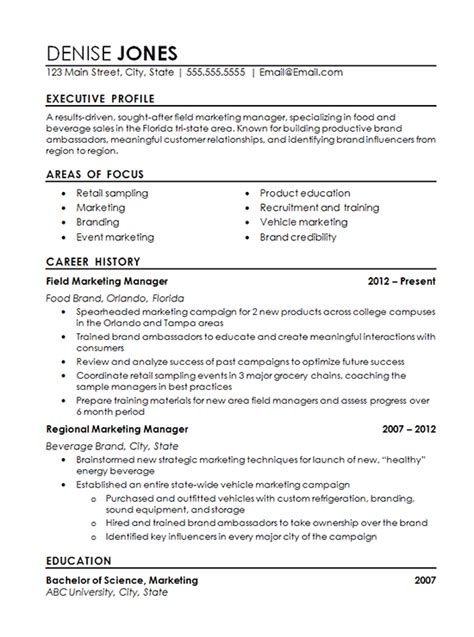 regional marketing resume  field marketing food