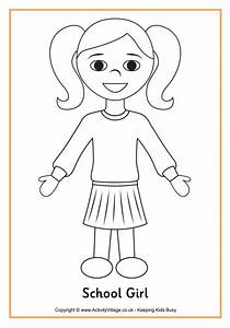 School Girl Colouring Page