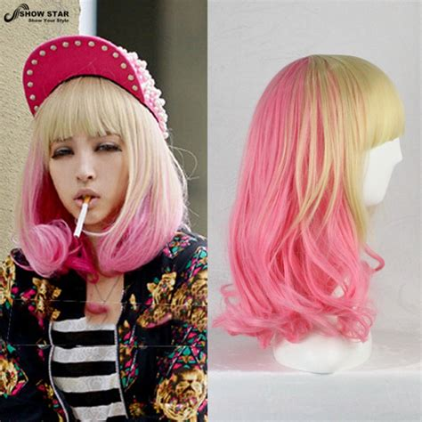 Showstar Lovely Lolita Blond Pink Ombre Wigs Two Tone