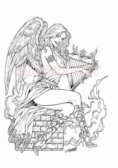 Coloring Pages Adult Printable Gothic Angel Valkyrie