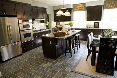 Dark Wood Kitchen Cabinets for Bright And Dark Kitchen