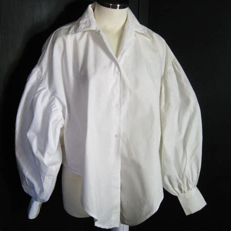 white cotton blouse 80s vintage poet blouse balloon sleeve white cotton shirt