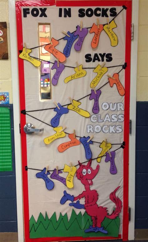 dr seuss fox in socks classroom door decoration quot fox in socks says our class rocks