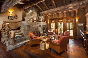 rustic living room with natural stone stairs by