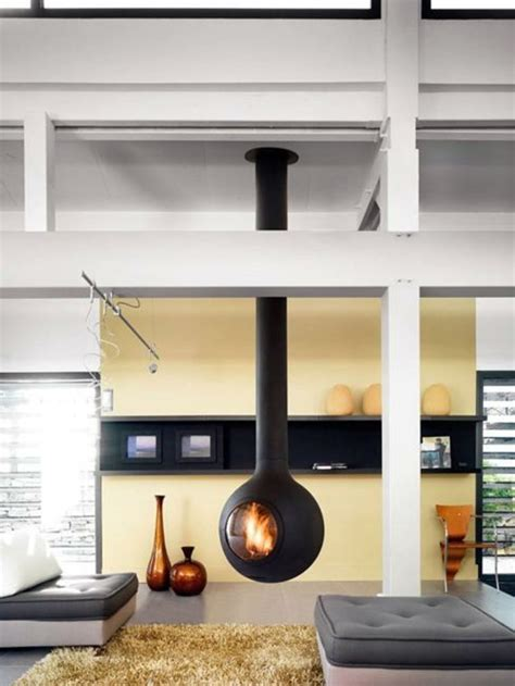 Bright Living Room by Hanging Stove Modern Luxury Fireplaces Interior Design