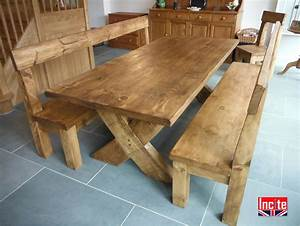 Derbyshire Handcrafted Plank Crossed Leg Table by Incite