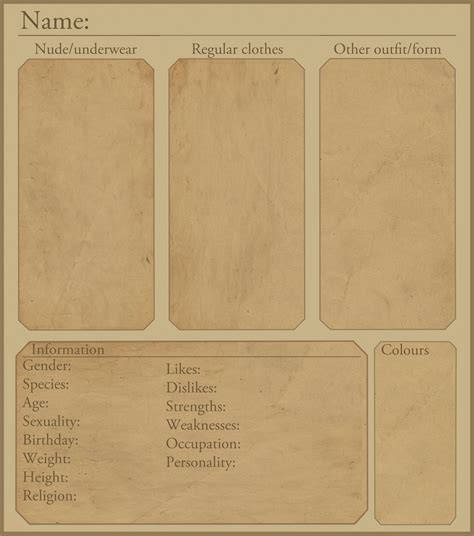 Character Sheet Template Character Reference Sheet Template By Rohdale On Deviantart