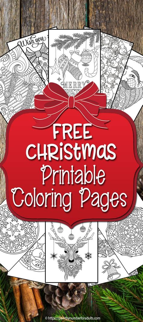 printable christmas coloring pages paint  number  adults