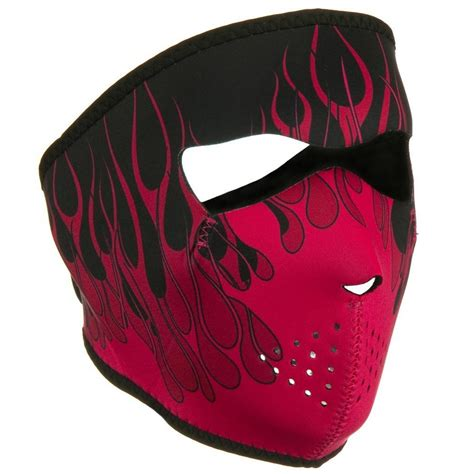 Pink Flame Neoprene Ski Mask Full Face