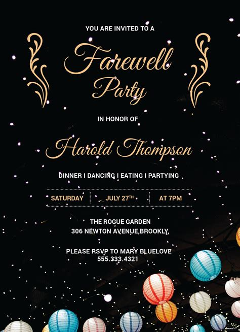 farewell party invitation template  adobe photoshop