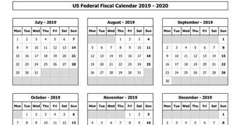 federal fiscal calendar excel template exceldatapro