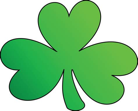 Free Clipart Of A Green Outlined Clover Shamrock, St