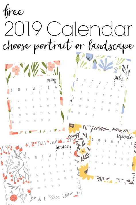 printable  modern floral calendars refresh living