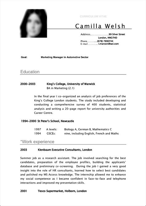 Curriculum Vitae Format For by Curriculum Vitae Format For Students Free Sles