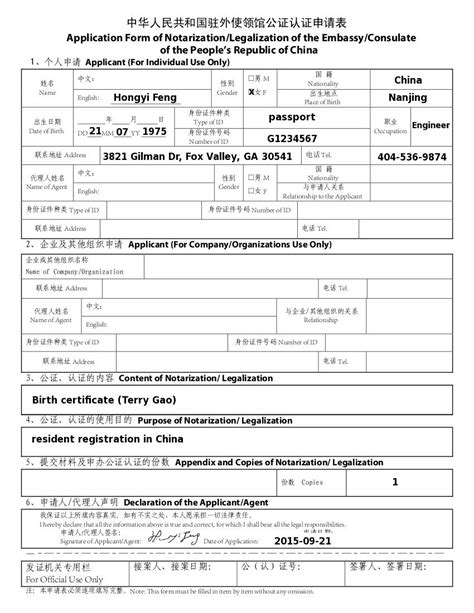 Chinese Visa Application Sample | Form for Chinese Visa