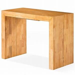 Table Chene Clair : console extensible bois massif ch ne clair 50 200 cm 10 personnes ~ Teatrodelosmanantiales.com Idées de Décoration