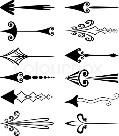 fancy arrow clipart black and white vintage arrows stock vector colourbox