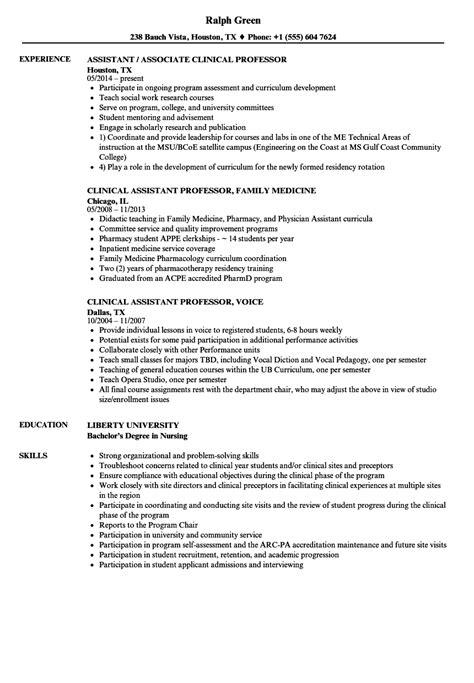Professor Resume by Assistant Clinical Professor Resume Sles Velvet