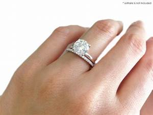 Which wedding band looks better pics weddingbee for Wedding rings to go with solitaire engagement ring