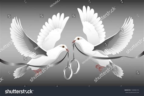 Two White Doves In Flight Carrying Wedding Bands. Stock