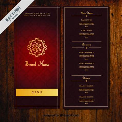 dark ornamental menu template  golden ornament vector