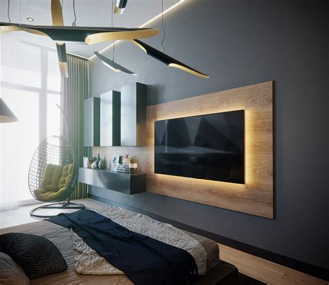 Bedroom Design Tv Wall by 50 Ideas To Decorate The Wall You Hang Your Tv On