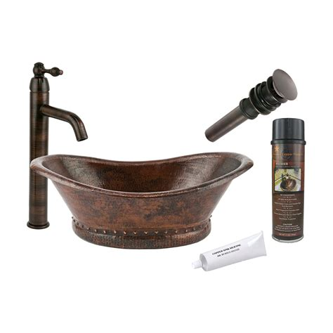 rubbed bronze kitchen sink faucet shop premier copper products oil rubbed bronze copper vessel oval bathroom sink with faucet