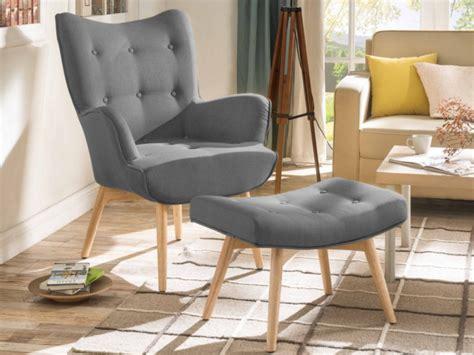 fauteuil et repose pieds fauteuil avec repose pieds en tissu 3 coloris esben