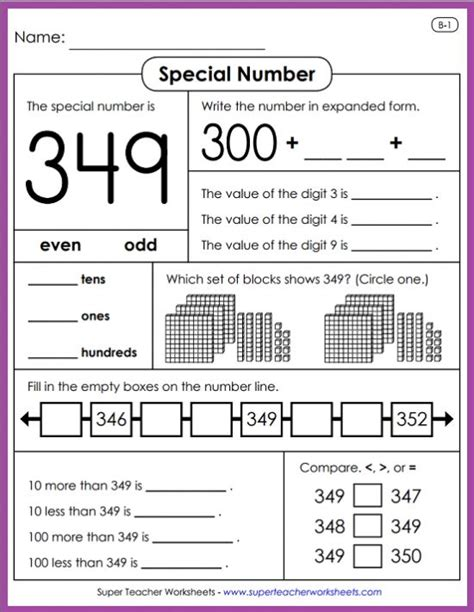 learn all about place value with special number activities from super teacher worksheets write