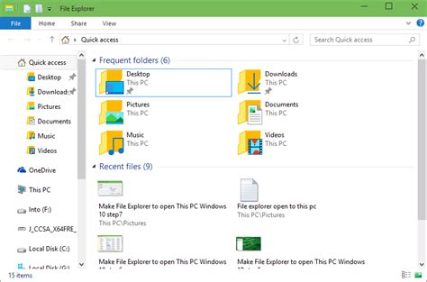how to make file explorer open this pc by default in