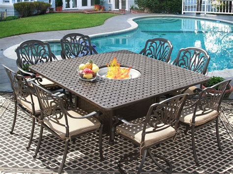 8 person patio table eli 64x64 square outdoor patio 9pc dining set for 8 person