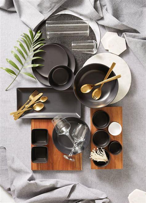 kmart dinnerware grey gold august cutlery kitchen living australia sets kitchenware collection homewares styling decor copper melamine