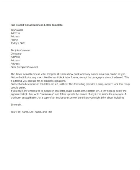 block letter format business letter format 12 free word pdf documents