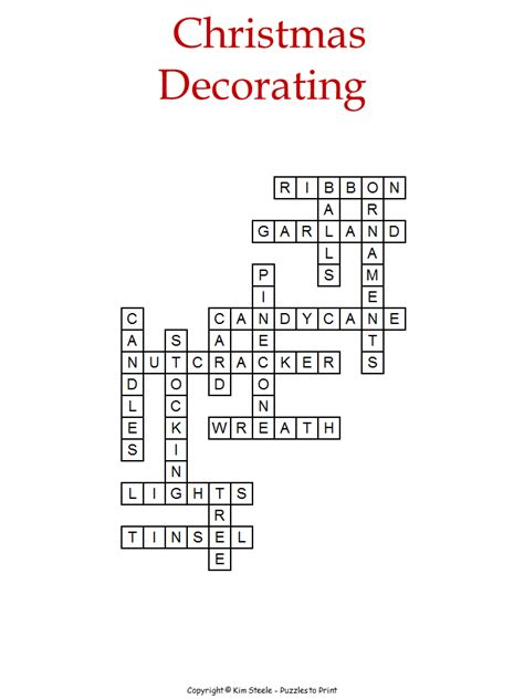 christmas decorations crossword for kids
