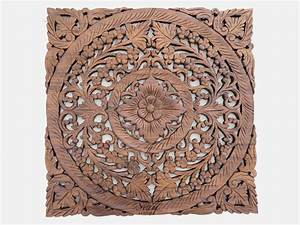Carved wooden lotus wall hanging panel siam sawadee