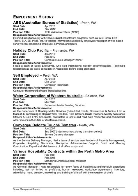 Resume Chronological By Start Or End Date by Senior Mgmt Resume 4 Page