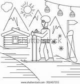 Ski Resort Line Pen Craft Shutterstock Sketched Ink Fantasy Inside sketch template