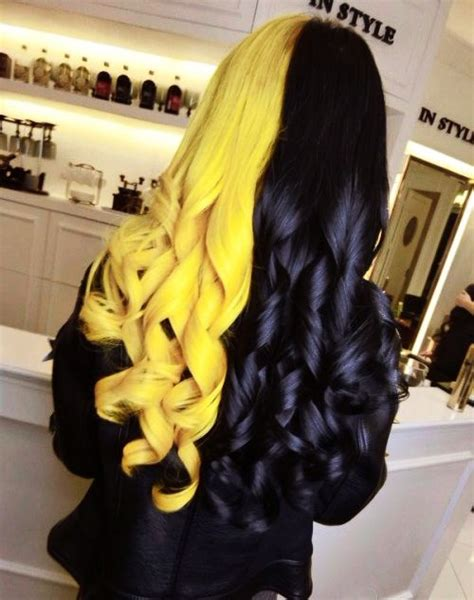 Black And Yellow Hair Color by Best 20 Half Dyed Hair Ideas On