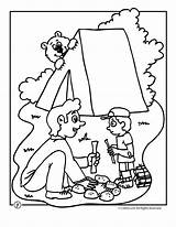 Camping Coloring Camp Bear Printable Preschool Activities Theme Crafts Sheets Worksheets Camps Colors Woojr Adult Printables Sheet Remeslá Cestovanie Lounges sketch template