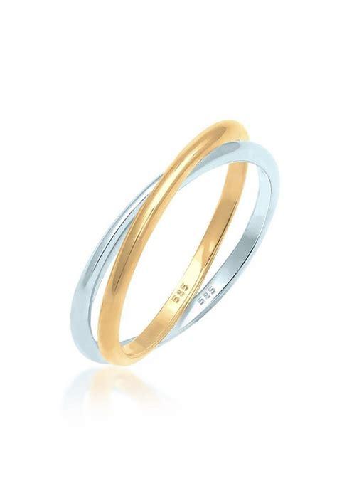 elli fingerring wickelring bi color zeitlos  gelbgold