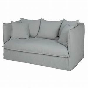 Sofas Maison Du Monde : 2 sitzer sofa mit bezug aus hellgrauem leinen louvre ~ Watch28wear.com Haus und Dekorationen