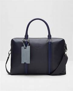 ted baker leather striped document bag in blue for men lyst With ted baker leather document bag
