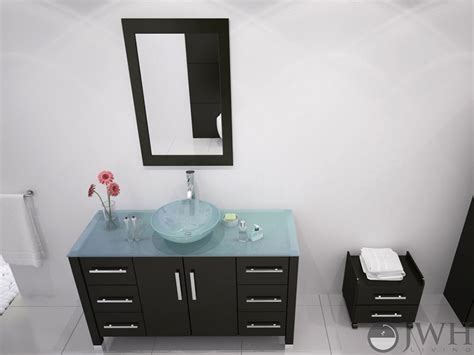 Vanity With Glass Top by 47 Quot Grand Crater Bathroom Vanity Glass Top Espresso