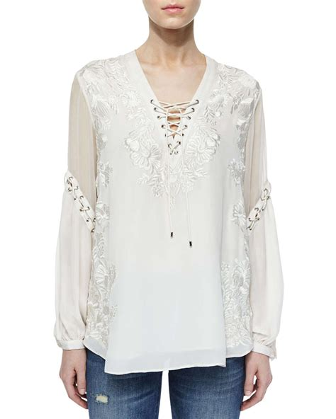 haute hippie blouse haute hippie floral embroidered silk peasant blouse in