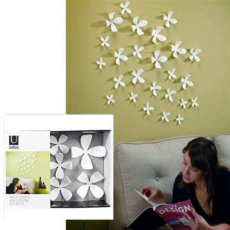Feather wall decor set of 18 assorted by umbra made of acetate set of 18; Umbra Wallflower Wall Decor 25 Flowers White Diy Nature Art Home Room Design New | eBay