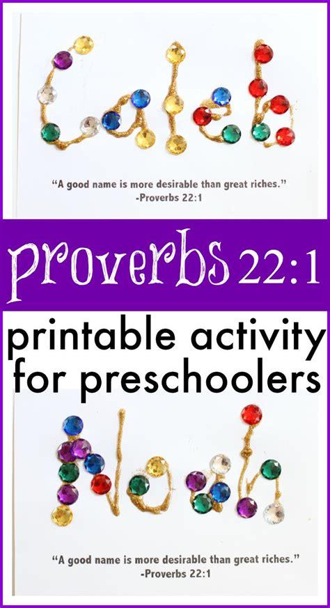 preschool bible activities proverbs 22 1 activity for preschoolers children s bible 481