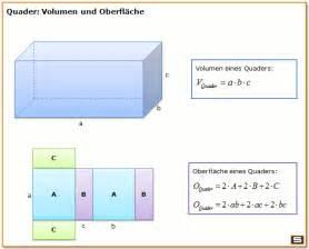 oberfläche berechnen quader berechnen volumen oberfläche raumdiagonale