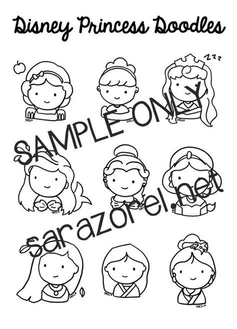 Disney Princess Doodles Coloring Page Printable Chibi